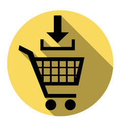 Add to shopping cart sign flat black icon vector