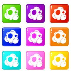 Atom icons 9 set vector