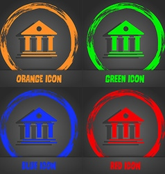 bank icon Fashionable modern style In the orange vector image