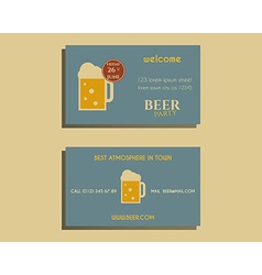 Beer party visiting card template with glass of vector
