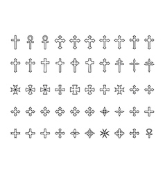 Big collection of crosses contours vector