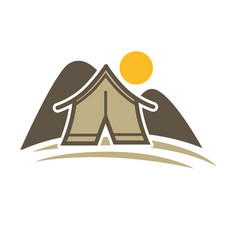 Camp tent in forest camping place isolated vector