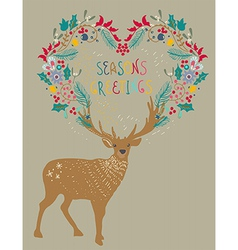 Christmas background with deer and floral holiday vector image