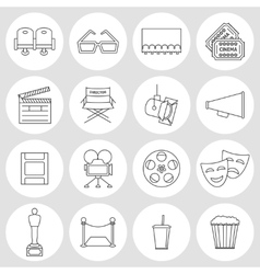 Cinema outline icons vector