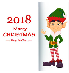 Elf showing on placard with greetings vector