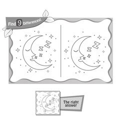 Find 9 differences game moon vector
