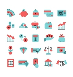 Flat Color Finance Icons Set vector image
