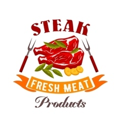 Fresh meat steak icon vector