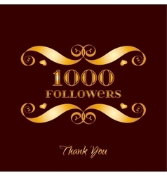 Gold 1000 followers badge over brown vector