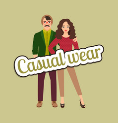 happy couple in casual wear style vector image vector image