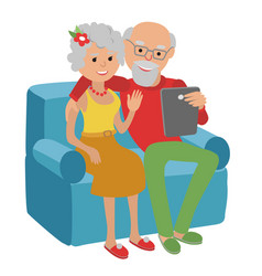 happy senior couple sitting on the sofa read with vector image