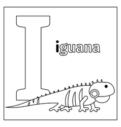 Iguana letter i coloring page vector