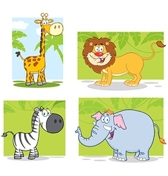 Jungle animals with background collection set vector