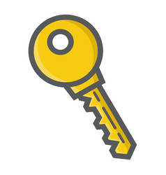 Key colorful line icon security and password vector
