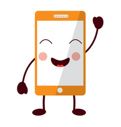 Mobile phone character emoticon face kawaii vector