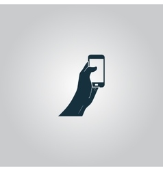 Mobile phone in hand icon vector image