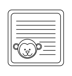 Monochrome card with male monkey head vector