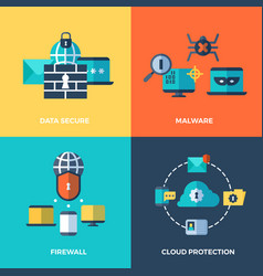 network security data protection concepts vector image vector image