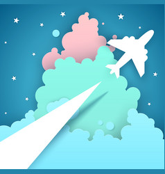 paper origami style air travel vector image vector image