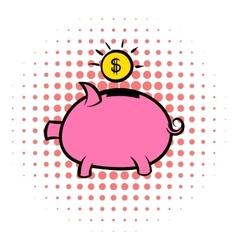 Piggy bank icon comics style vector image