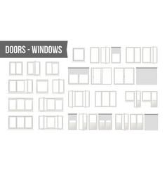 Plastic pvc windows doors set different vector