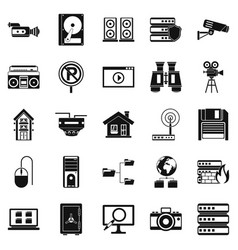 Surveillance icons set simple style vector