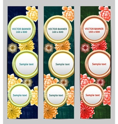 Vertical Floral Banner Bookmark background vector image