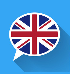 White speech bubble with Great Britain flag vector image