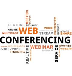 word cloud web conferencing vector image vector image
