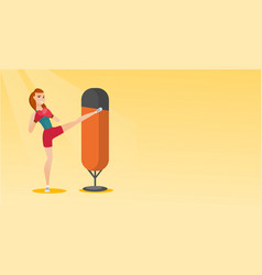 young caucasian woman exercising with punching bag vector image