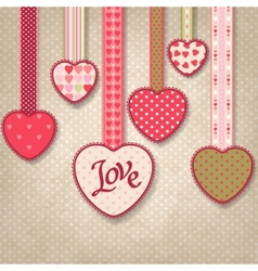 Retro background of vintage design with hearts vector