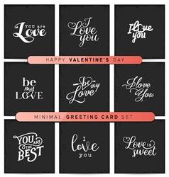 Valentines day minimal greeting card set vector