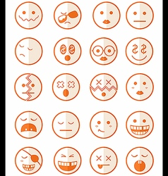 20 characters orange half icons set 2 vector