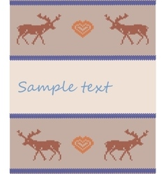 Knitted deers brown vector image