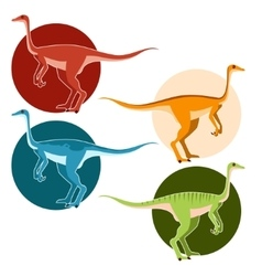 Set of ostrich dinosaurs vector