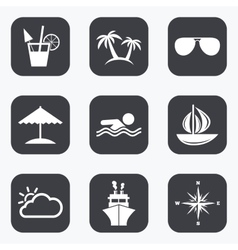 Cruise trip ship and yacht icons travel signs vector