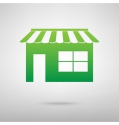 Shop green icon vector