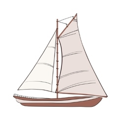 Boat with sails vector