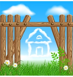 Wooden fence with clouds house vector