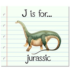 Flashcard letter j is for jurassic vector