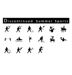A set of 16 discontinued summer sport icons vector