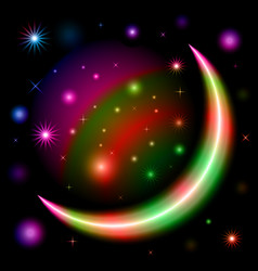 Abstract colorful moon shape space design vector