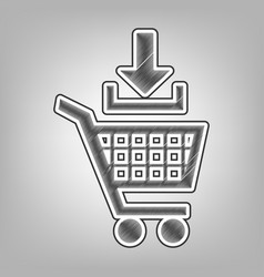 Add to shopping cart sign pencil sketch vector