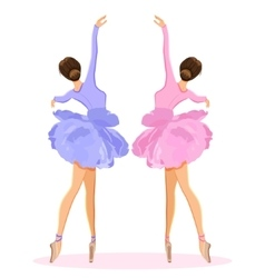Ballerina dancing on pointe in flower tutu skirt vector image vector image