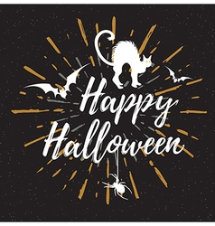 Black halloween background with silhouette of cat vector