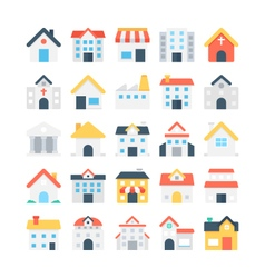 Building colored icons 1 vector