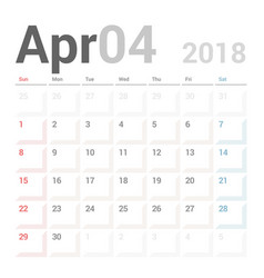 calendar planner april 2018 week starts sunday vector image