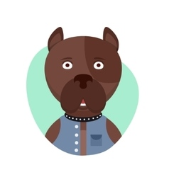 Cartoon cute pitbull dog isolated objects on vector