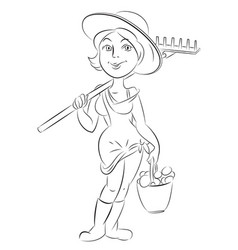 cartoon image of farmer girl vector image