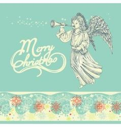 Christmas angel greeting card vector image vector image